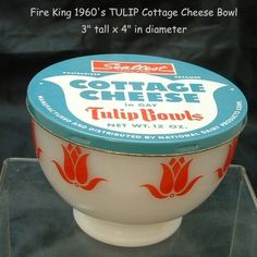 Vintage Fire King Sealtest Cottage Tulips Bowl with Original Lid were so MANY promotions in those days.towels or dishes in the detergent box, glasses at the gas station or brought by the milkman.it was pretty cool ❤️ Antique Glassware, Vintage Kitchenware, Vintage Tins, Vintage Dishes, Vintage Antiques, Vintage Pyrex, Kitchen Items, Kitchen Ware, Pyrex Bowls