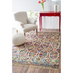 nuLOOM Flatweave Modern Striped Diamond Cotton Multi Rug (8' x 10')