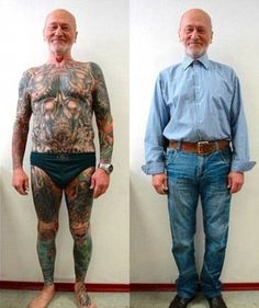 What will you look like when you're old with tattoos? Senior Citizens Reveal What Tattoos Look Like on Aging Skin! Tattoo Foto, Get A Tattoo, 3 Tattoo, Badass Tattoos, Body Tattoos, Full Body Tattoo, Crazy Tattoos, Hippe Tattoos, Tattoo People