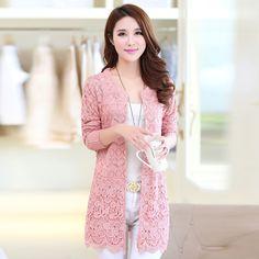 2016 Mùa Xuân Và Mùa Thu của Phụ Nữ Hàn Quốc Áo Len Dài tay áo Phần Dài Dệt Kim Rỗng Ren Cardigan Coat Nữ Thời Trang Áo J113