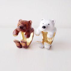 Bear ring ajustable l Enamel Animal Ring l White Brown