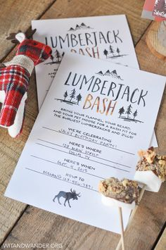 Free Printable Rustic and Burly Lumberjack Party Invitation featured in the Lumberjack Bash Party - Wit & Wander