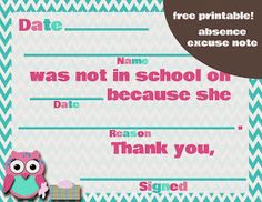 Cute Free Printable Of AbsenceChange For The School Note  Jaxson