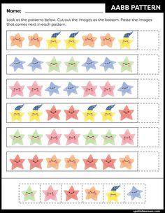 These FREE printable worksheets for kids are great for practicing spatial concepts! These patterns worksheets can be used as homework, bell-ringer activity, warm-up activity, or speech therapy work. Fun activity for your kindergarten or grade 1 students! Free Printable Worksheets, Worksheets For Kids, Printables, Activities For Girls, Fun Activities, Pattern Worksheet, Scissor Skills, Vocabulary Building, 4 Kids