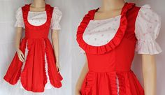 60s Dress / Rockabilly / Red / Circle Skirt / Square Dance / C & C Originals by PetticoatsPlus on Etsy