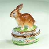Limoges Black and White Rabbit on Grass with Carrot Box Limoges Boxes France