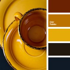 blue color, bright yellow, brown colour, cold and warm tones, contrasting palette, dark brown, dark-blue, honey-yellow, mustard color, mustard yellow color, mustard-orange, saturated blue, shades of orange, warm orange, warm yellow, yellow color. House Color Palettes, Orange Color Palettes, Color Schemes Colour Palettes, Red Colour Palette, Green Palette, Warm Color Schemes, Color Combos, Warm Colors, Colours