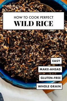 Learn how to cook perfect wild rice, every time, with this simple recipe! Wild rice is a nutritious and delicious whole grain. It's chewy but tender, nutty in flavor, and one of my favorite ingredients to add to salads! Cooking Wild Rice, Healthy Cooking, Cooking Recipes, Healthy Recipes, Alkaline Recipes, Healthy Eating, Healthy Chef, Wild Rice Recipes, Fall Recipes