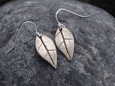 Bronze leaf, drop earring, real leaf, silver earwires, dangle, gift, ladies, birthday, Christmas, handmade, by SilverWindsJewellery on Etsy