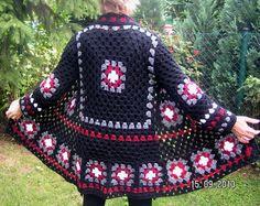 Hippie+Häkeljacke++Granny+schwarz++Größe+40/42+von+mädchenträume+auf+DaWanda.com