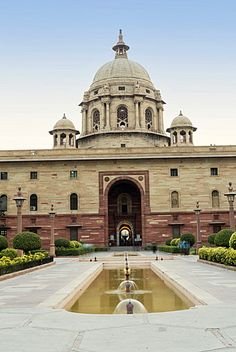 The Secretariat, parliament buildings by Herbert Baker on Raisina Hill at the end of the Rajpath, New Delhi, India, Asia