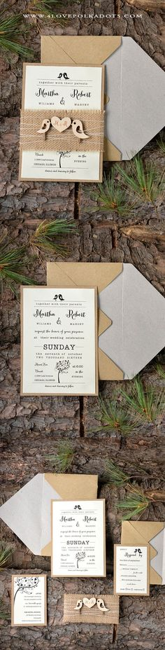 Eco Papers Wedding Invitation with Wooden Tag and burlap #LoveBirds… #weddinginvitation