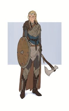 Female fighter / warrior round shield and axe DnD / PAthfidner character concept art Character Design Comission by Juliana Wilhelm : ReasonableFantasy- - Viking Character, Female Character Design, Character Creation, Character Concept, Character Art, Concept Art, Simple Character, Animation Character, Dungeons And Dragons Characters