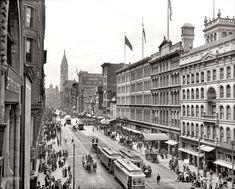 Philadelphia's Market Street: 1904  Strawbridge & Clothier Department Store is first two bldgs on right
