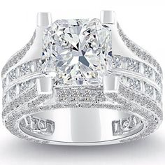 7.26 Carat F-SI1 Radiant Cut Natural Diamond Engagement Ring 14k White Gold - Vintage Style Engagement Rings - Engagement - Lioridiamonds.com