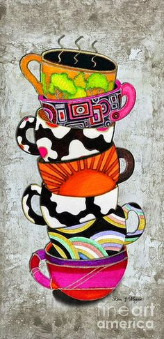 Colorful Coffee Cups Mugs Hot Cuppa Stacked I By Romi And Megan Painting by Megan and Romi - Colorful Coffee Cups Mugs Hot Cuppa Stacked I By Romi And Megan Fine Art Prints and Posters for Sale Canvas Art, Canvas Prints, Art Prints, Big Canvas, Tee Kunst, Coffee Cup Art, Coffee Shop, Coffee Cup Drawing, Owl Coffee