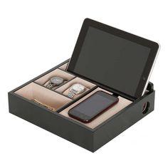 Wooden Charging Valet Bedroom Dresser Smartphone Tablet Watch Money Java Finish #MeleCo