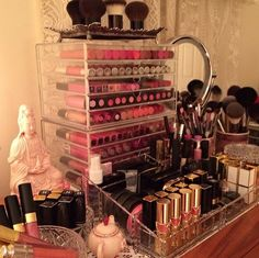 A slightly older photo of part of my personal makeup collection. For an updated view please see link above to my YT channel: BeautifullyInspired1. Thank you! xx
