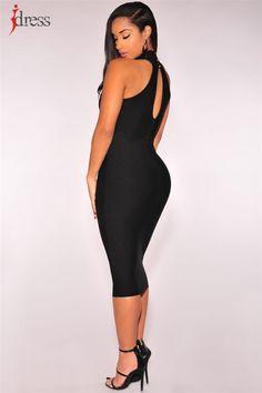 IDress Summer Dress 2017 Black Sexy Hollow Mesh Patchwork Knee Length Bodycon Bandage Sexy Dresses Party Night Club Dress