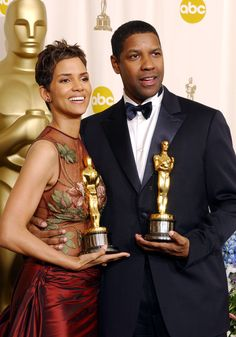 "2001 Academy Award Winners - Halle Berry - Best Actress Oscar  for ""Monster's Ball""  Denzel Washington - Best Actor Oscar for ""Training Day"""
