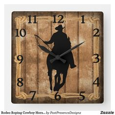 Rodeo Roping Cowboy Horse Silhouette Square Wall Clock Horse Silhouette, Cowboy Horse, Wall Clocks, Hand Coloring, Rodeo, Horses, Display, Artwork, Prints