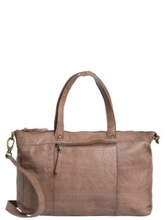 EMBOSSED LEATHER BAG, Nougat, large