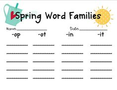 spring word families