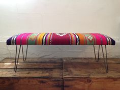 """Custom and pre-order only. Upon receipt of payment you will receive a link with available fabric options in both bold and muted palettes. Turkish Kilim upholstered bench finished with locally forged steel hairpin legs or vintage wood tapered legs. 36"""" or 48"""" longx18""""w17""""h. Lead time 6-8 weeks."""