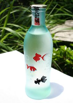 Cute Summer Sake Bottle Design with Goldfish... I just want the bottle.