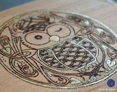 hiboux celtique pyrogravure