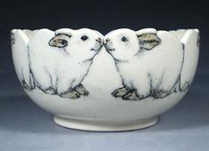 "I'm normally not looking for ""cute"" pottery, but how could you resist? Hand Painted Pottery with Animal and Dog Art by Nan Hamilton Boston MA Pottery Bowls, Ceramic Pottery, Pottery Art, Pottery Animals, Ceramic Animals, Hand Painted Pottery, Pottery Painting, Rabbit Art, Bunny Rabbit"