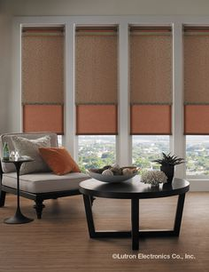 With a single button press, lower all shades without getting up. Sit back and relax with a good book. Living Room Drapes, Window Treatments Living Room, Custom Window Treatments, Living Room Windows, Living Room Decor, Apartment Design, Apartment Living, Apartment Ideas, Big Windows
