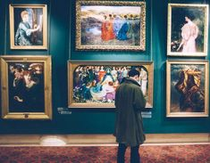 This image by Pexels represents a man looking at a series of Renaissance paintings in a museum.