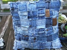 Denim pillow sham made from weaving waistbands by TatteredSisters: