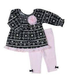 Another great find on #zulily! Black Arabesque Babydoll Top & Bow-Hem Leggings - Infant #zulilyfinds