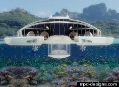 """An Italian industrial designer has unveiled plans to make a floating, solar-powered yacht/hotel/submarine that can essentially be plopped down near existing water-front hotels or marinas. Michele Puzzolante's plan is some 20 meters in length and comes equipped with a submerged """"observation"""" bulb for people to view sea life."""