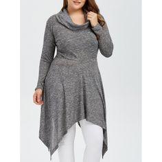 19.26$  Buy now - http://diwj5.justgood.pw/go.php?t=196954101 - Plus Size Asymmetric Cowl Neck Knitwear