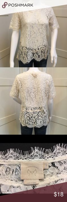 Anthropologie Vanessa Virginia Elysian Lace Blouse Lovely Anthropologie white/cream lace blouse. No stretch. Beautiful neutral layering piece for work or weekend 😍.  Please note (last pic) of small tear at base of blouse. I never noticed this until I was ironing it today :(. Priced accordingly. Anthropologie Tops Blouses