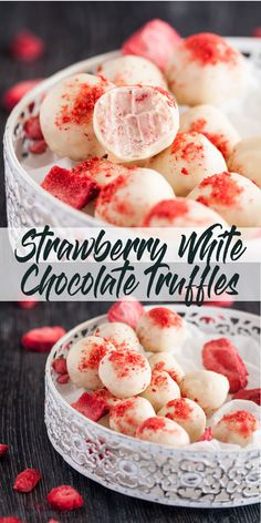 These Strawberry White Chocolate Truffles have an intense strawberry flavour in a little chocolate treat Easy chocolate truffles Homemade chocolate truffles via sugarsaltmagic Homemade Truffles, Homemade Candies, Homemade Chocolates, Truffles Easy No Bake, Diy Truffles, How To Make Truffles, Lemon Truffles, Oreo Truffles Recipe, Champagne Truffles