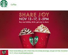 Pinned November 12th: Second holiday coffee free 2-5pm daily at #Starbucks #coupon via The Coupons App
