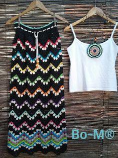 Bo-M: Black Skirt - Everything About Knitting Crochet T Shirts, Crochet Cardigan, Crochet Clothes, Crochet Dresses, Moda Crochet, Knit Crochet, Hippie Crochet, Knitting Magazine, Crochet Stitches Patterns