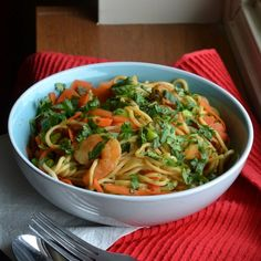 A flavorful spicy shrimp and soba noodle soup with edamame, carrots and soy mushroom sauce - my new favorite condiment!