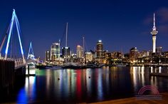 Photo about Auckland, Skyline with bridge at dusk. Image of auckland, zealand, kiwi - 31518035 Greek Islands To Visit, New Zealand Cities, Night Skyline, Paradise On Earth, City Photography, Macro Photography, Beautiful Places In The World, Vancouver Island, Auckland
