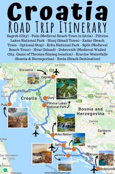 Croatia Road Trip Itinerary - Route Map + Top Places to Visit # # Backpacking Europe, Europe Travel Guide, Travel Guides, Croatia Itinerary, Croatia Travel, European Destination, European Travel, Places To Travel, Travel Destinations