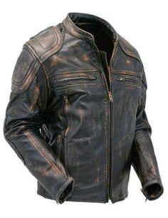 Mens Cafe Racer Quilted Distressed Brown Vintage Motorcycle Biker Leather Jacket #byfashionpvt #BasicJacket