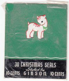 Christmas Deer Gummed Stickers Gibson 1950s  Package Seal Scrapbook Crafts   #Gibson #vintage