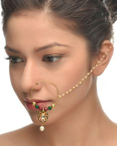 Golden Nath with Red Floral Drop #Jewelry #Fashion #New #Stones #Studded #Ethnic #Indian #Traditional