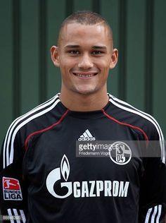 Mohamed Amsif poses during the FC Schalke 04 team presentation at the coal mine ProsperHaniel on July 5 2009 in Bottrop Germany