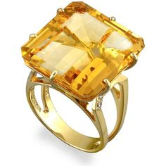 Square-Cut Citrine Ring (€2.665) ❤ liked on Polyvore featuring jewelry, rings, anel, square stone ring, square cut ring, citrine jewelry and citrine rings