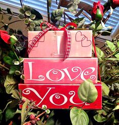 I Love You with Hearts Valentines Day Wood Block Decor Red and Pink on Etsy, $25.00